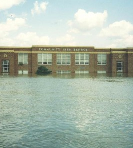 Old Valmeyer High School during the Flood of 1993