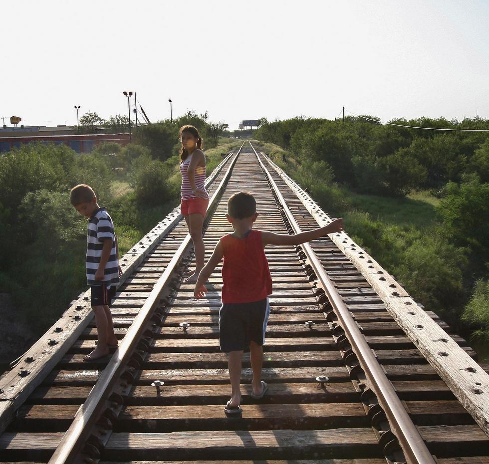Kids Play on Traintracks