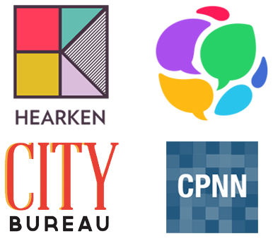 Hearken, GroundSource, City Bureau, and Crowd Powered News Network logos