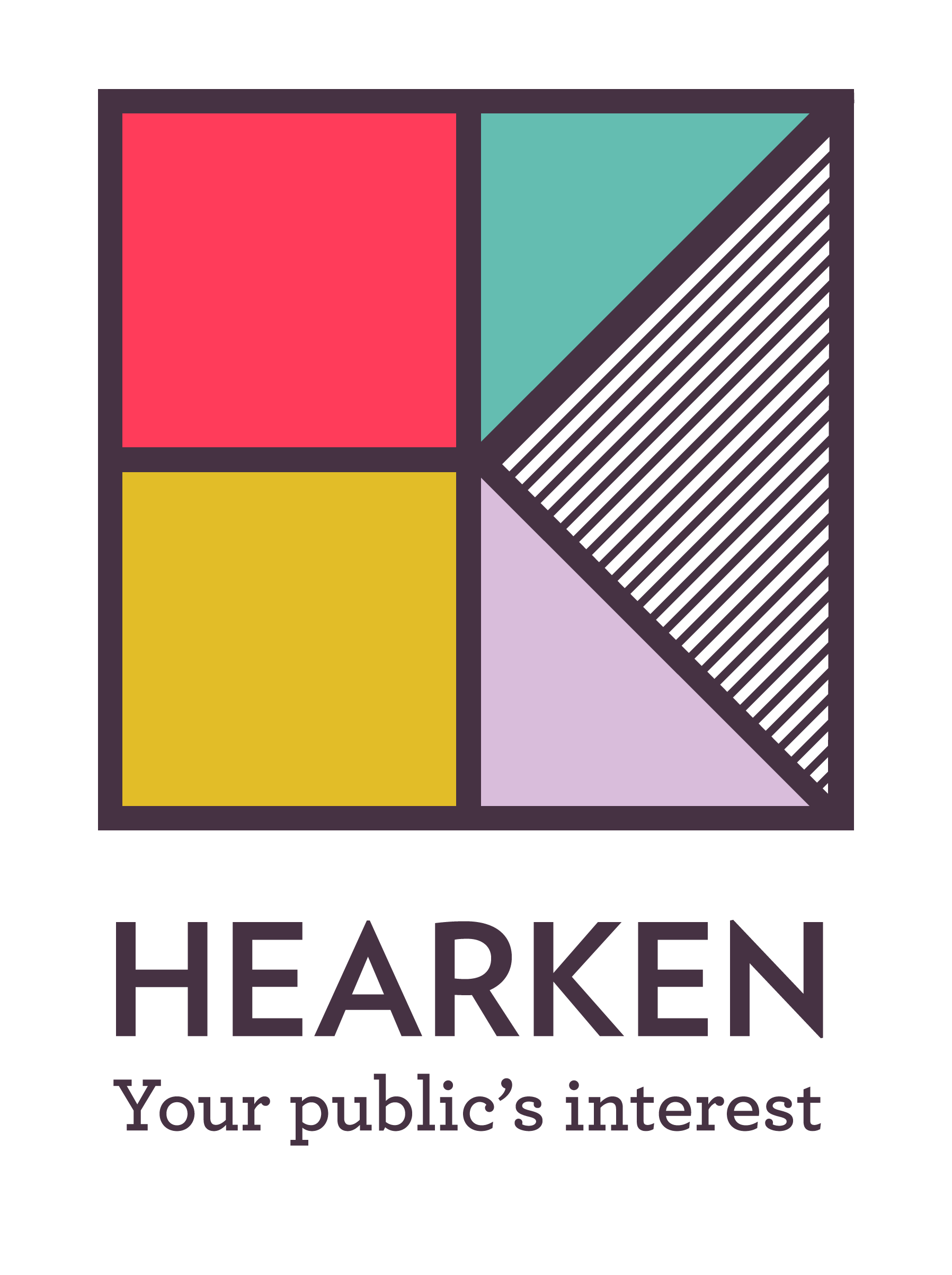 Hearken logo with the tagline-- Your public's interest