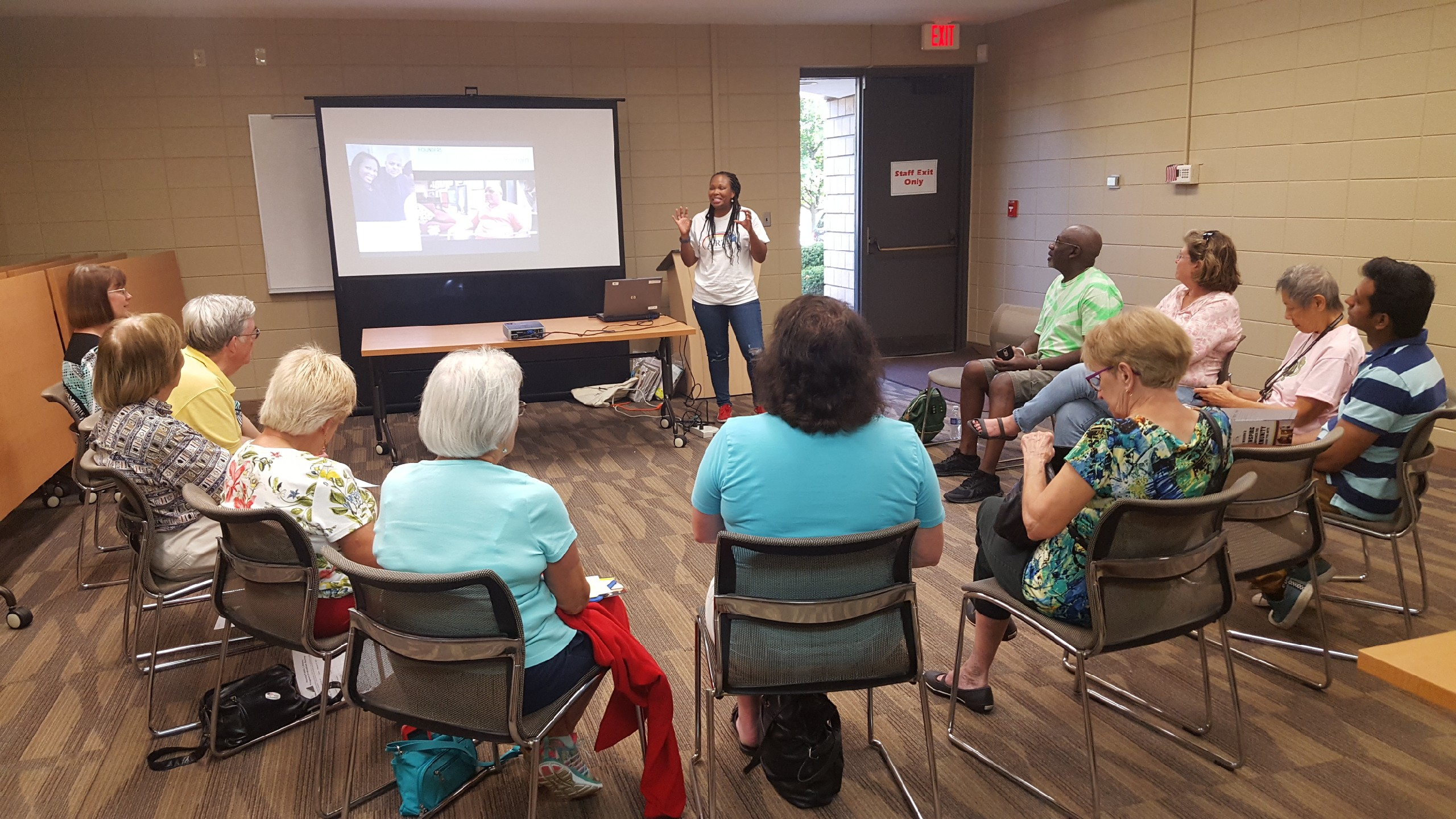 Image from August 27, 2019 Peoria Illinois Speaks session with Nikki Romain