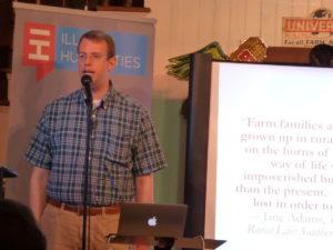Matt Meacham of Illinois Humanities speaking during the third installment of Seeding Change.