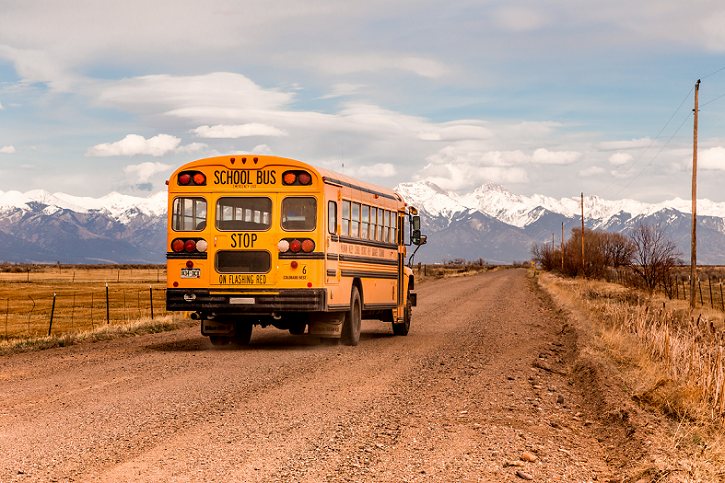 School Bus on Dirt Road