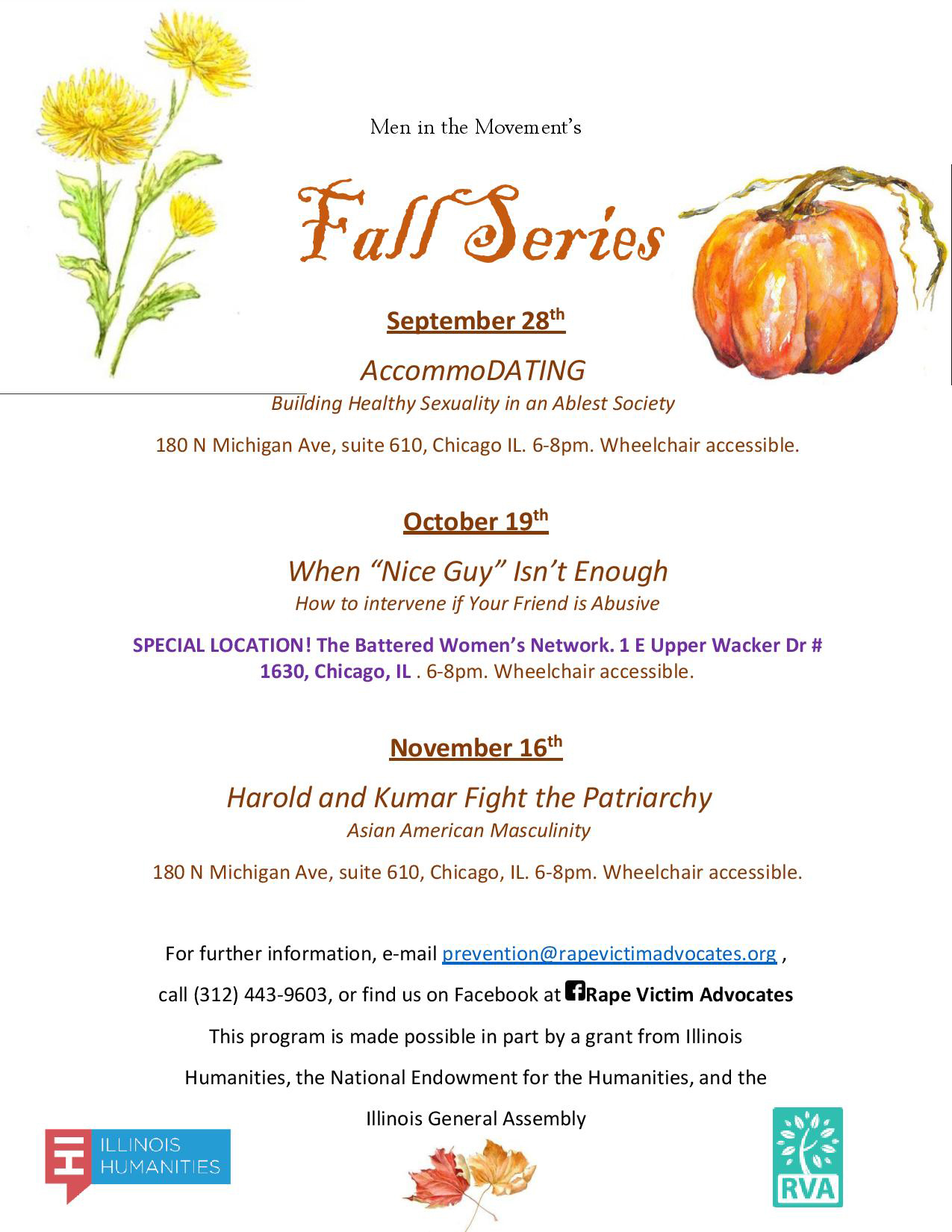 RVA Men in the Movement Fall Series flyer
