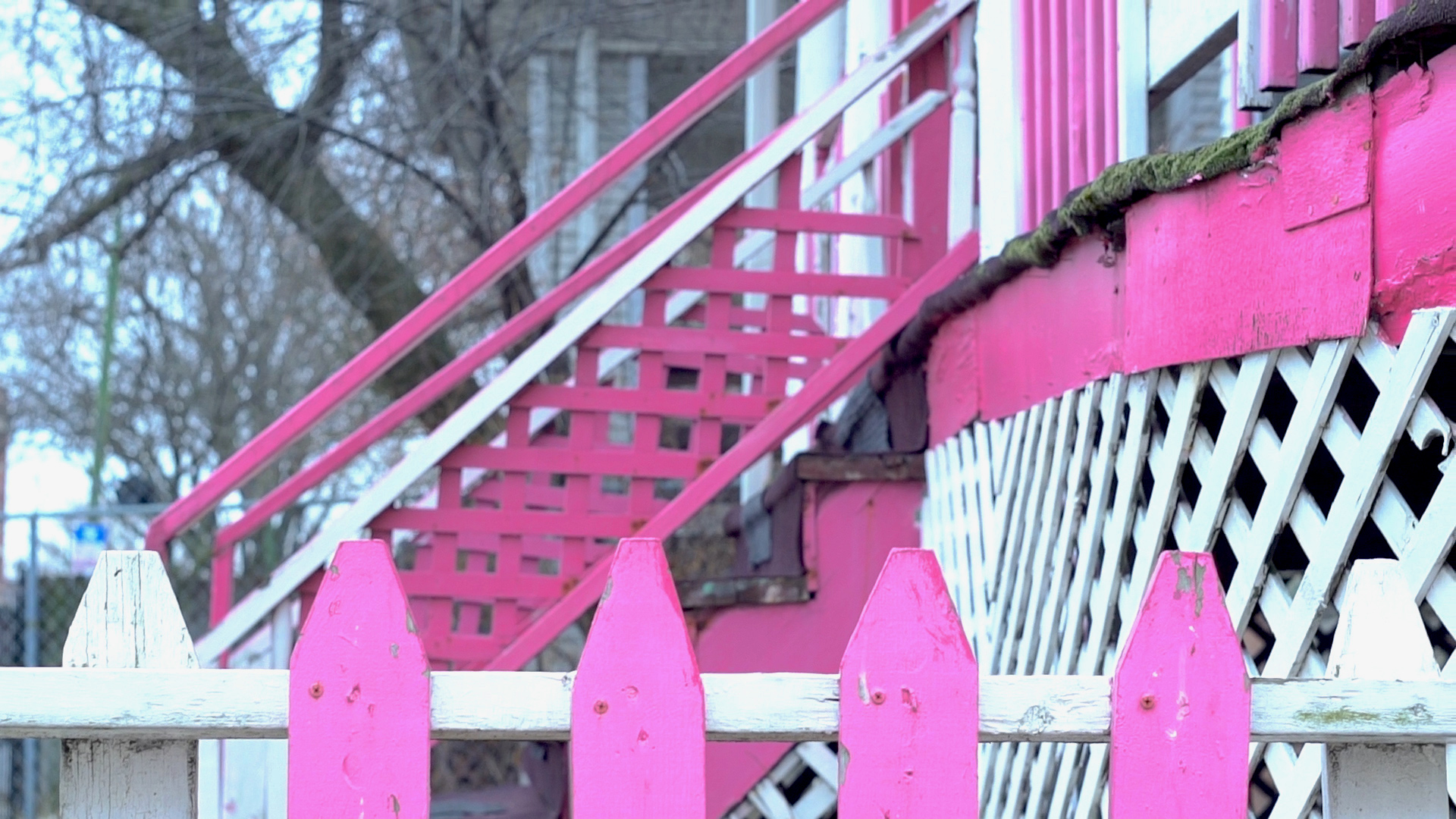 stairs and fence close-up of the Victorian home of Yolanda Anderson built in 1894