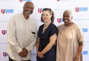 2019 Public Humanities Award recipients Kerry James Marshall and Cheryl Lynn Bruce with Illinois Humanities Executive Director Gabrielle Lyon