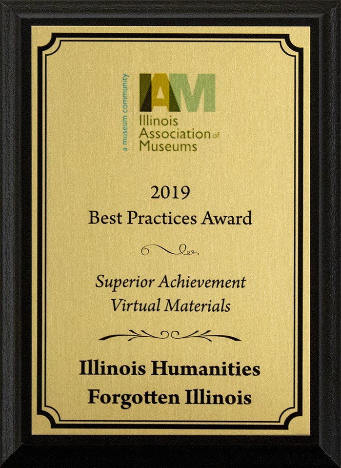 "image of 2019 Illinois Association of Museums Award for ""Superior Achievement: Virtual Materials"""