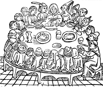 A woodcut from William Caxton's second edition of the Canterbury Tales printed in 1483.