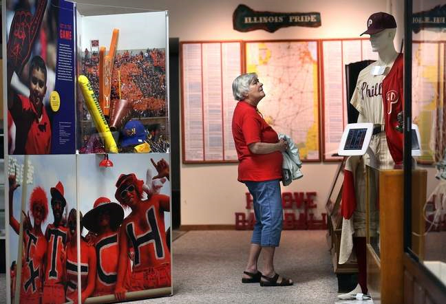 Sue Oltmann, originally of Nokomis but now a Colorado resident, stops in to see the museum exhibits Saturday while in town for her high school reunion. David Spencer/The State Journal-Register